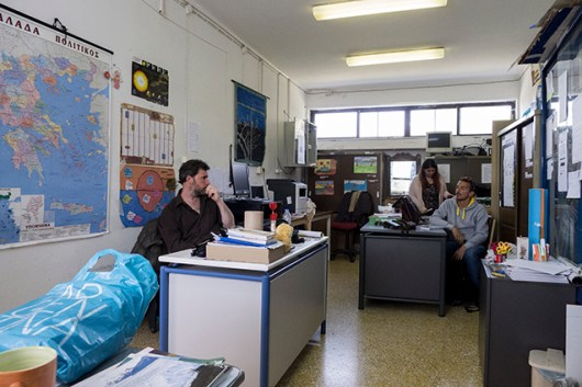 At the teachers office at Fourfouras secondary school
