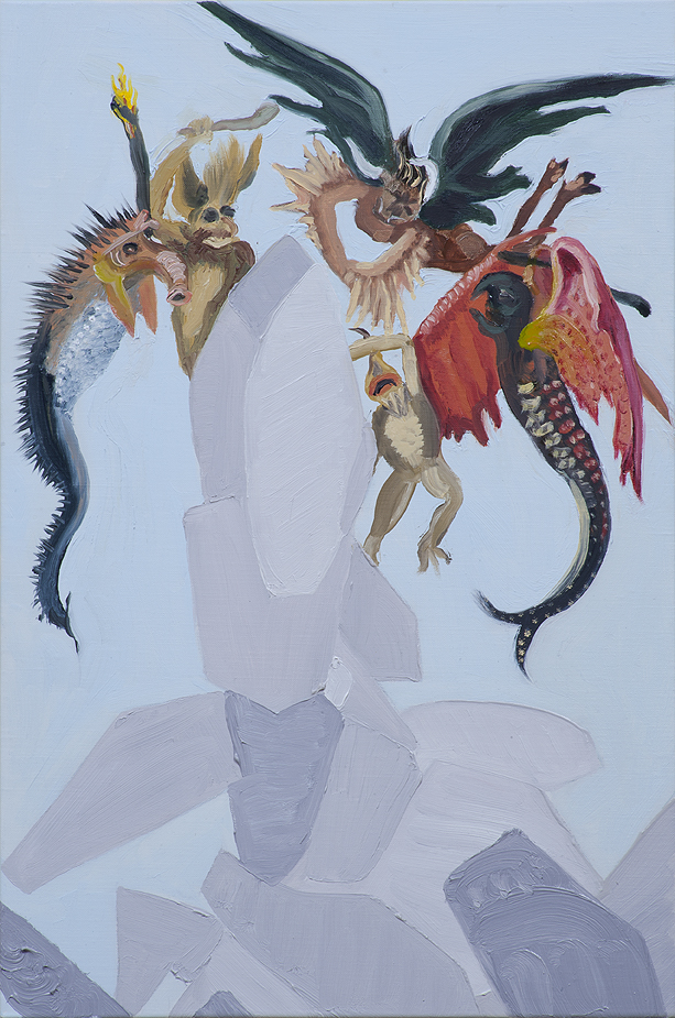 "Susan Lizotte: Small Devils"" (oil on linen, 18.5 x 12 inches). Photo: Alan Shaffer"