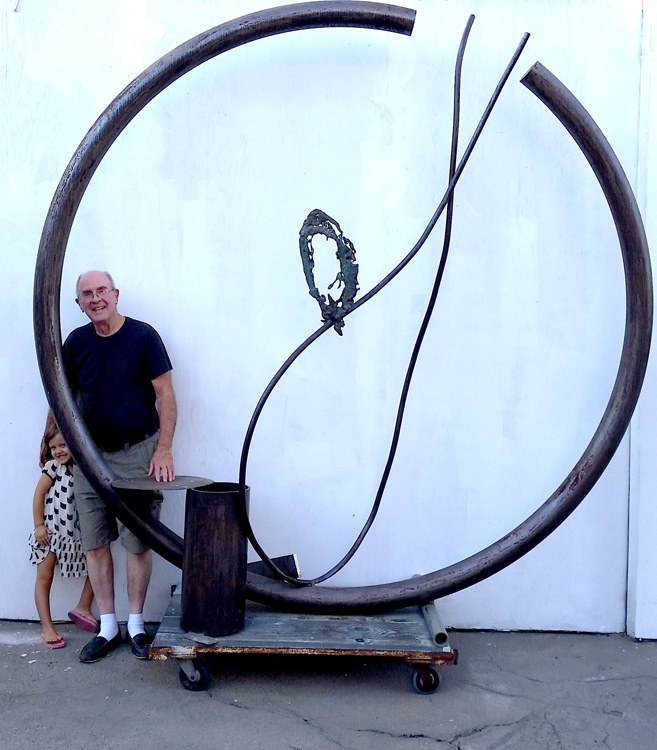 Long-time Frogtown artist Michael Todd and a friend. (Photo credit Patrick Quinn)