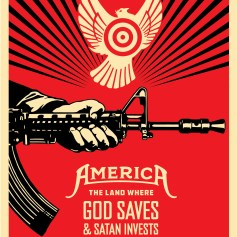 Shepard Fairey. God Saves and Satan Invests. Photo Courtesy Loft at Liz's