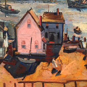 Phil Dike, (Detail) Pink House (Newport Beach), 1956. Oil on canvas, 24 x 34 inches. Dike Family Trust. In the Land of Sunshine: Imaging the California Coast Culture, September 25, 2016-February 19, 2017, Pasadena Museum of California Art.