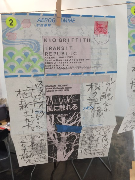 Transit Republic. One of the aerogrammes sent daily via regular mail by artist Masao Okabe. Poem on one side about the elm tree bark rubbing (on the other side). Elm trees are known as the great nature's dowsers. Photo Courtesy of Kio Griffith.
