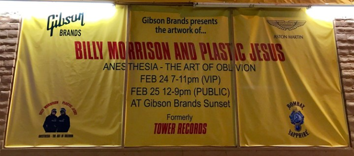 Anesthesia: The Art of Oblivion. Billy Morrison and Plastic Jesus. Tower Records storefront on West Hollywood's Sunset Strip. Photo Credit Stephen Levey