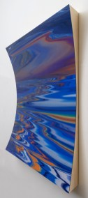 """Andy Moses: A 30 Year Survey. Santa Monica College, Pete and Susan Barrett Art Gallery. """"R.A.D. 1601"""", 2015. Acrylic on polycarbonate mounted on horizontal parabolic concave wood panel. 60x84x7 inches. Photo Credit Alan Shaffer"""