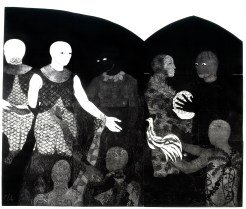Belkis Ayón, Perfidia (Perfidy), 1998 Collograph. Nkame: A Retrospective of Cuban Printmaker Belkis Ayón Fowler Museum at UCLA, Photo Courtesy of the Fowler Museum.