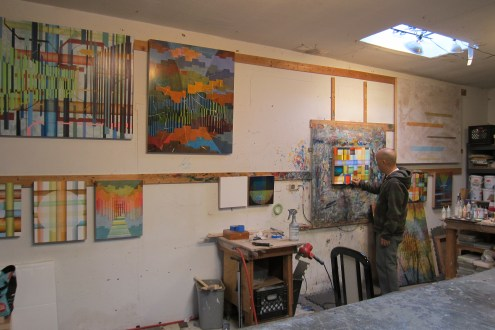 Studio visit with Bryan Ida. Photo Credit Gary Brewer.