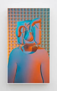 Brian Bress Still Life (orange to blue), 2017 High definition single-channel video (color), high definition monitor and player, wall mount, framed 40.75 x 23.125 x 2.5 in. Photo Courtesy of Cherry and Martin.