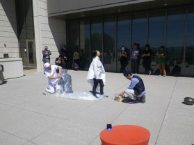 performance art by takeshi kanemura, satomi akutsu, and hiroshi shimizu
