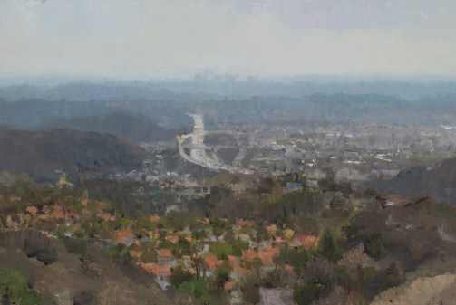 "Glendale South, 2016 oil on panel 7.5 x 11.75"" . Ann Lofquist. Photo Courtesy of Craig Krull Gallery."