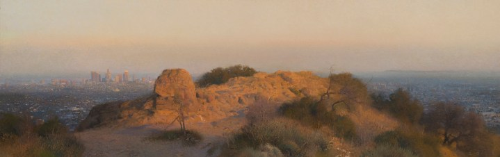 "Last Light, Griffith Park, 2015 oil on canvas 23 x 72"". Ann Lofquist. Photo Courtesy of Craig Krull Gallery."