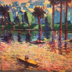 Carlos Almaraz, Echo Park Lake, 1-4, 1982. Now on view at LACMA. Photo Credit Betty Brown.