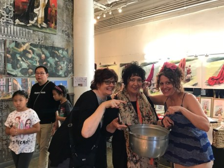 Kate Carvellas, Lena Moross and Kristine Augustyn. Brewery Artwalk. Spring 2018. Photo Credit Genie Davis