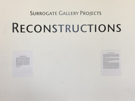 Reconstructions, Surrogate Gallery Projects. Photo Courtesy Holly Boruck.