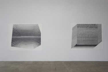 Aili Schmeltz, Object Window Both Neither.XXXVI, 2018, graphite on paper at JAUS Gallery. Photo courtesy of the gallery.