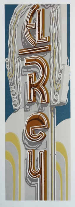 """El Rey"", reduction linocut in 9 colors, 24"" x 8"", 2017. Photo courtesy Dave Lefner"