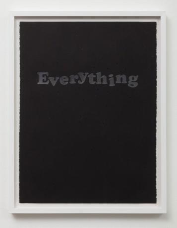 Untitled (Everything) Graphite and Swarovski crystals on paper in Sadie Barnette: Black Sky at Charlie James Gallery. Photo courtesy of the gallery.