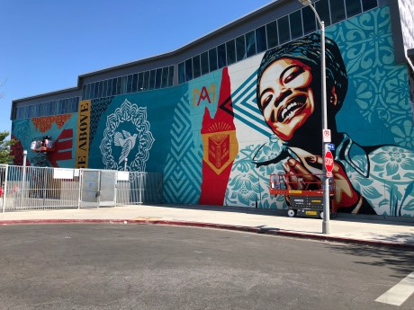 Shepard Fairey, Branded Arts-Maya Angelou Mural Festival ©2019 A_C, Photo credit Julie Faith