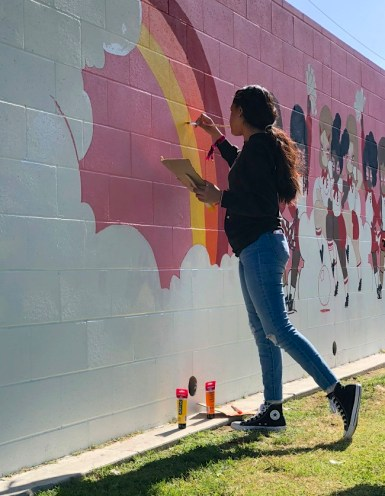Student Art + Valfre, Branded Arts-Maya Angelou Mural Festival ©2019 A_C, Photo credit Julie Faith