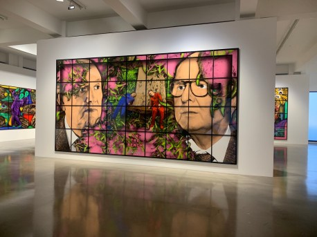 Gilbert & George, ON THE BENCH, PARADISICAL PICTURES, Spruth Magers; Photo credit Sydney Walters