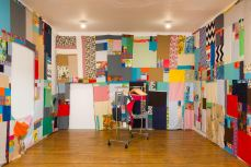 Jen Smith, Mother Cloth, installation view (week 3). Cotton, linen, old clothes, approx. 10 x 122 ft. Courtesy the artist and Commonwealth and Council. Photo Ruben Diaz.