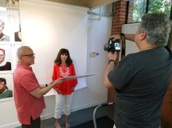 """Tony Pinto """"Artist Seen"""" residency and solo show at Shoebox Projects. Photo Credit Kristine Schomaker"""
