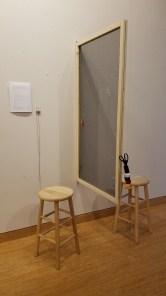 Camella Kim Untitled, 2017 Wood, screen, threads. Parallels: Medicine = Art. Crafton Hills College Art: Eyes on Healing. Crafton Hills College Art Gallery. Photo Credit Jacqueline Bell Johnson.
