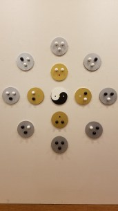 Mikio Kawasaki. 8 Directions and 5 Elements. Wood, ceramic, house paint, plastic balls. Parallels: Medicine = Art. Crafton Hills College Art: Eyes on Healing. Crafton Hills College Art Gallery. Photo Credit Jacqueline Bell Johnson.