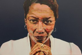 ICONIC: Black Panther. Gregorio Escalante Gallery, Los Angeles, CA. Laurel Shear. Afeni Shakur. 2017. Oil on canvas. Photo Courtesy of Sepia Collective and The Artist.