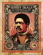 ICONIC: Black Panther. Gregorio Escalante Gallery, Los Angeles, CA. Shepard Fairey Bobby Seale 2004 Silkscreen and mixed media collage on paper, HPM. Photo Courtesy of Sepia Collective and The Artist.