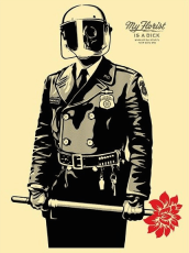 ICONIC: Black Panther. Gregorio Escalante Gallery, Los Angeles, CA. Shepard Fairey My Florist is a Dick 2015 Silkscreen on wood panel. Photo Courtesy of Sepia Collective and The Artist.