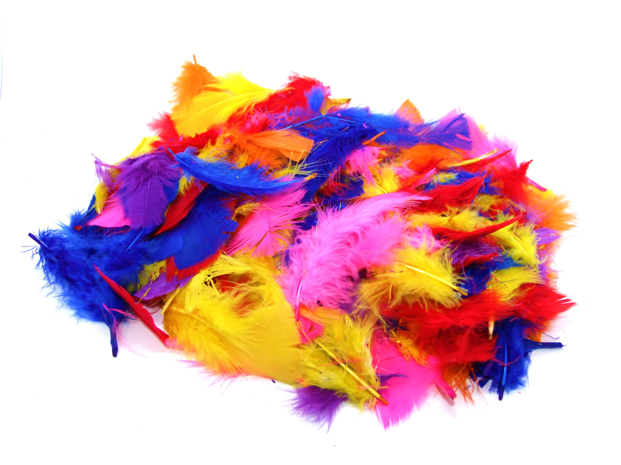 Assorted Bright Coloured Craft Feathers 25g Art Craft Factory