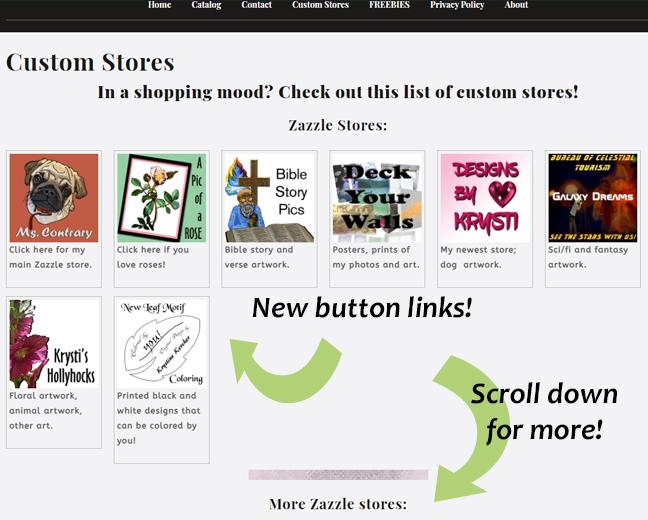 printscreen of Custom Stores Page