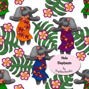 Cute elephants in tropical wraps dancing the hula