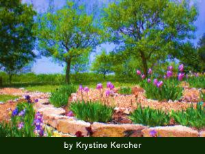 Painterly iris garden and trees
