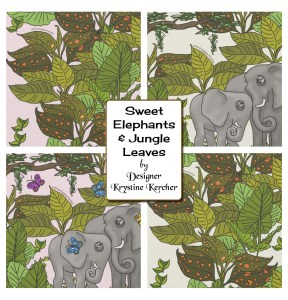 Sweet elephants and jungle leaves craft supplies collection on Zazzle