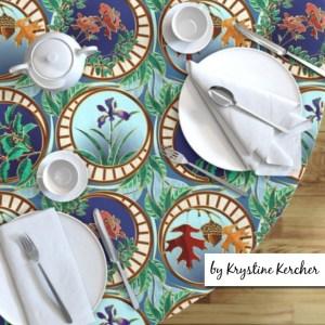 Art Nouveau Seasons round tablecloth
