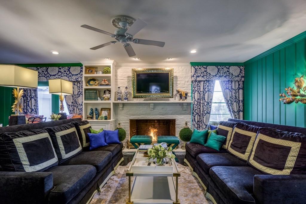 Family Room with Framed TV