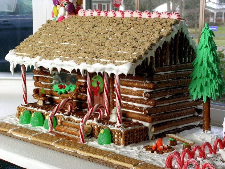 """Gingerbread"" Pretzel Log Cabin"