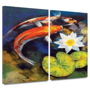 Koi Fish and Water Lily by Michael Creese 2 Piece Art Print on Canvas Set
