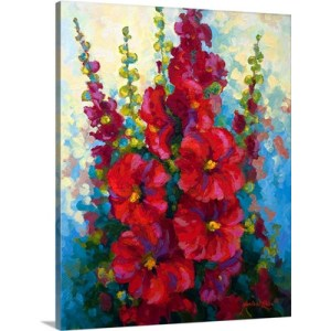 New Hollyhocks by Marion Rose Art Print on Canvas