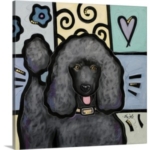 Standard Poodle Black Pop Art by Eric Waugh Painting Print on Canvas