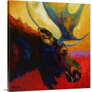Alaska Spirit Moose by Marion Rose Art Print on Canvas