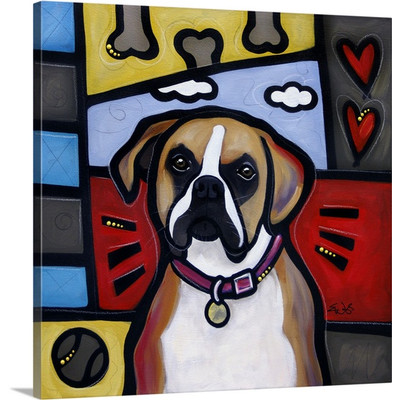 Boxer Pop Art by Eric Waugh Painting Print on Canvas