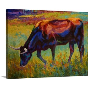 Grazing Longhorn by Marion Rose Art Print on Canvas
