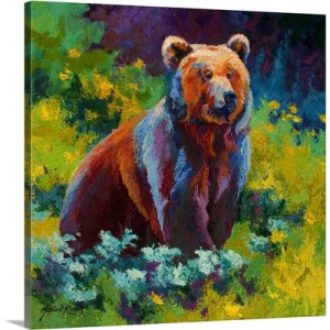 Wildflower Grizzly by Marion Rose Art Print on Canvas