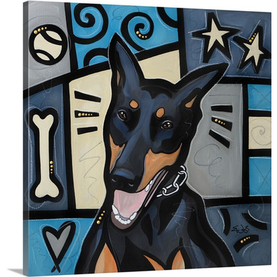 Doberman Pinscher Pop Art by Eric Waugh Painting Print on Canvas