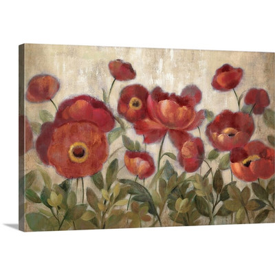 Daydreaming Flowers - Red by Silvia Vassileva Canvas Art Print