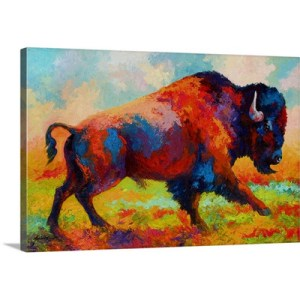 Running Free Bison by Marion Rose Art Print on Canvas