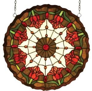 "Colonial Tulip | Art Glass Window Hanging | 18"" X 18"""