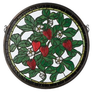"Strawberry Patch | Round Stained Glass Window | 17"" W X 17"" H"